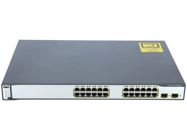 Cisco - WS-C3750-24TS-S - Catalyst 3750 24 10/100 + 2 SFP Standard Multilayer Image