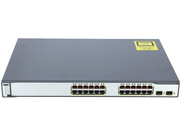 Cisco - WS-C3750-24PS-E - Catalyst 3750 24 10/100 PoE + 2 SFP Enhanced Image