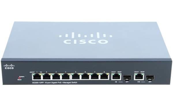 Cisco - SG300-10PP-K9-EU - Cisco SG300-10PP 10-port Gigabit PoE+ Managed Switch