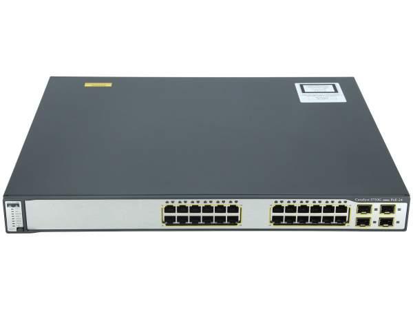 Cisco - WS-C3750G-24PS-E - Catalyst 3750 24 10/100/1000T PoE + 4 SFP Enhanced Image