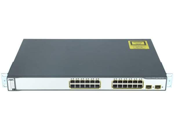Cisco - WS-C3750-24PS-S - Catalyst 3750 24 10/100 PoE + 2 SFP Standard Image
